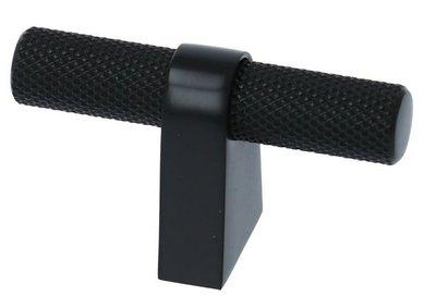 Staafknop Aluminium Ribbel 60x35mm mat-zwart