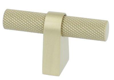 Staafknop Aluminium Ribbel 60x35mm mat-goud