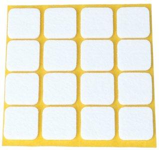 Zelfklevend Vilt wit 22 x 22 mm 16 Stuks