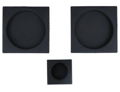 Set komgrepen voor schuifdeur mat zwart