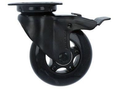 Zwenk Skatewiel Met Rem Zwart met bevestigingsplaat 75 mm