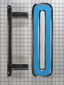 Beugel greep 64 mm nikkel glans met blauw emaille inleg