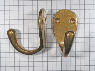 Kapstokhaak enkel, brons antiek