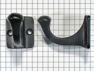 Kapstokhaak klein, ijzer zwart
