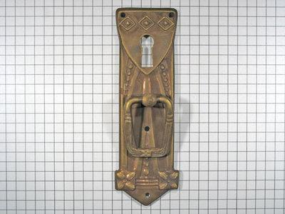 Deurtrekker met sleutelgat, messing oud