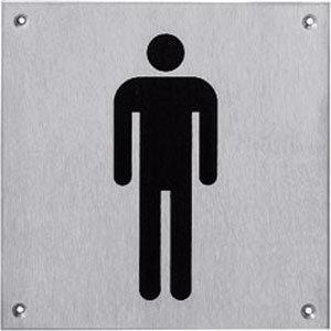 Pictogram groot WC heren rvs