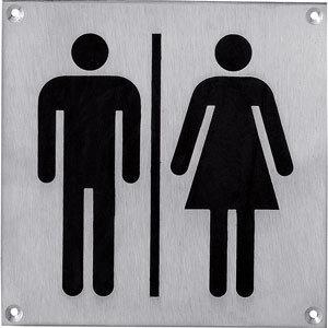 Pictogram groot WC dames en heren rvs
