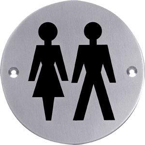 Pictogram rond WC dames en heren rvs