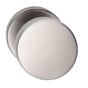 Knop rond vast op rozet staal + 7mm nok RVS
