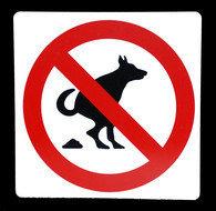 Kunststof aanduidingsbord verboden honden uit te laten