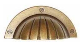 Komgreep Schelp Brons Antiek 64 mm