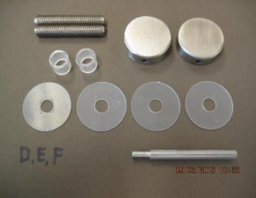Bevestigingsset tbv enkelzijdige montage Ω20mm grepen op glas