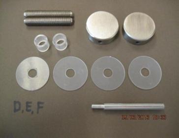 Bevestigingsset tbv enkelzijdige montage Ω25mm grepen op glas
