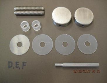Bevestigingsset tbv enkelzijdige montage Ω32mm grepen op glas