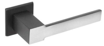Deurkruk No. 5 vierkant rozet RVS-mat zwart