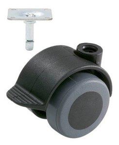 Meubelwiel Zwart Zacht + Rem 40 mm met Bevestigingsplaat