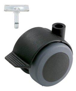 Meubelwiel Zwart Zacht + Rem 50 mm met Bevestigingsplaat