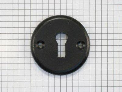 Sleutelplaat ijzer zwart rond tbv deurkruk