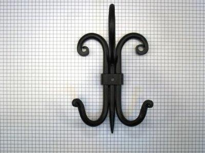 Dubbele hoed- en jashaak ijzer zwart