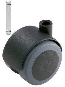 Meubelwiel Zwart Zacht 50 mm Stift 8 mm