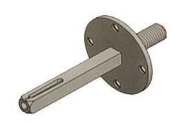 Wisselstift vierkant 8 mm met opschroef plaat tbv deurknoppen M8