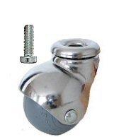 Meubelwiel 40 mm Chroom Met Zacht Loopvlak Bout M8