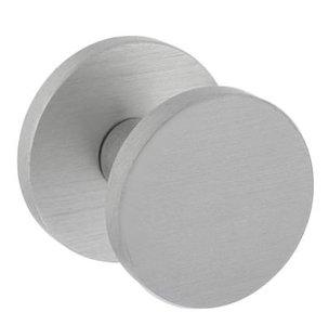Voordeurknop Plat Ø55 mm op ronde achterplaat Aluminium F1