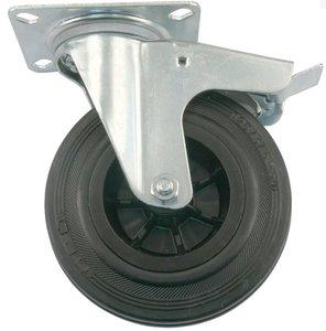 Transport Zwenkwiel met rem en bevestigingsplaat 125 mm