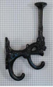 Kapstokhaak dubbel ijzer zwart 180 mm