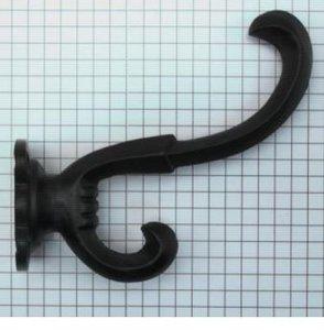 Kapstokhaak ijzer zwart 90 mm