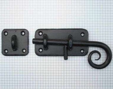 Grendel ijzer zwart, grondplaat 100 x 52 mm