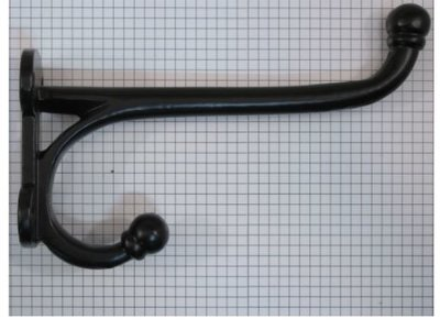 Kapstokhaak zwaar recht 19 cm ijzer zwart