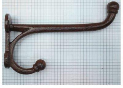 Kapstokhaak zwaar recht 19 cm ijzer geroest