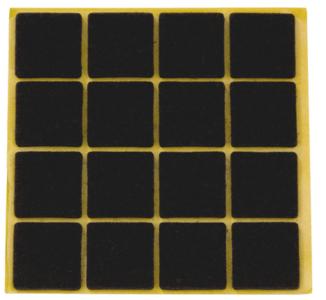 Zelfklevend Vilt Bruin 22 x 22 mm 16 Stuks